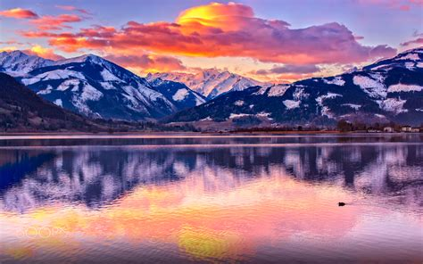 Sunrise On The Zell Am See Lake In Austria Beautiful Hd