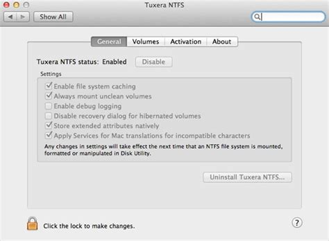 Enable write access to NTFS partitions under Mac OS X