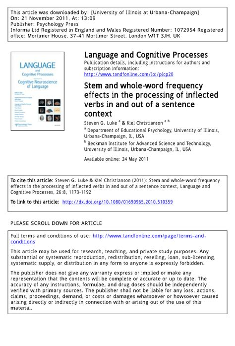 (PDF) Stem and whole-word frequency effects in the