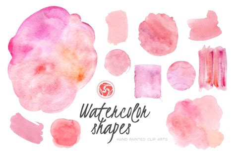 Pink Watercolor Shapes and Patches ~ Illustrations